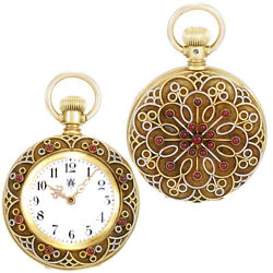 Womens 18k Multicolored Gold Cabochon Ruby Case Waltham Pocket Watch Watch Video