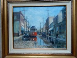 C.1930 Oil Painting Of Detroit Michigan Trolley Car Framed 24 X 28