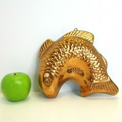 Vintage Copper Fish Cake Jello Mold Decor Wall Hanging 8 X 8 French Country