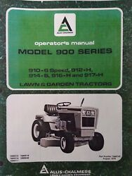 Allis Chalmers 910 912h 916h 914s 917h Lawn Garden Tractor And Mower Owners Manual