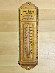 Vintage Sandl Farm Service Feed And Seed Mixing 11 Metal Thermometer Arcanum Ohio