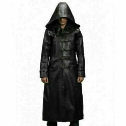 Mens Genuine Black Leather Trench Coat Jacket Winter Long Coat With Hood