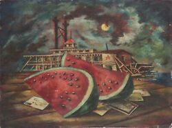 Donald Forbes-wpa Ca/ne Realist-original Signed Oil-watermelon And Steamboat