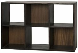 48 L Modern Bookcase Hand Crafted Solid Walnut Wood Natural With Ebony Finish