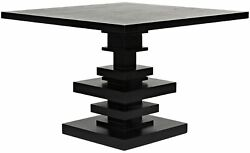 42 W Modern Dining Table Solid Mahogany Wood Stacked Square Pedestal Base