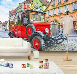 3d Antique Red Car T375 Transport Wallpaper Mural Self-adhesive Removable Sunday