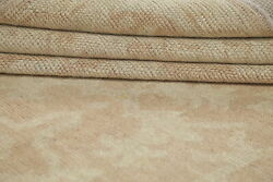 Vegetable Dye Muted Oushak Turkish Area Rug Antique Look All-over Beige 7and039x13and039