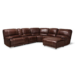 Dark Brown Faux Leather 6-piece Theater Sectional Sofa Recliner Corner Lounge