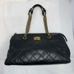 Tote Preowned Authentic Black Leather W/antique Brass Hardware Handbag