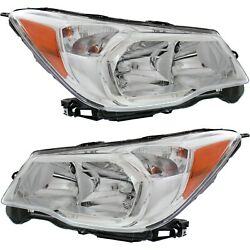 Headlight Set For 2014-2016 Subaru Forester Driver And Passenger Side W/ Bulb