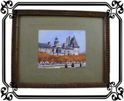 French Fontainebleau Chateau Painting Antique Watercolor Picture 1916 By A. Chan