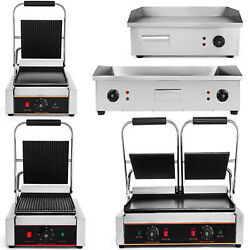 Electric Contact Grill Griddle Flat Panini Grill Sandwich Press Countertop Still