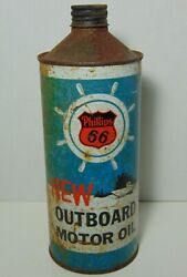 Vintage 1950s Phillips 66 Outboard Boat Motor Oil Can Cone Top Marina Boat Sign