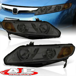 Smoked Amber Replacement Head Lights Lamps Pair For 2006-2011 Honda Civic 4dr