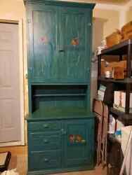 Vintage Style Wood Cupboard Cabinet Distressed Chicken Rooster Country Design