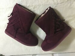 Nordstrom Rack suede boots for youth girl's size 12 deep purple color