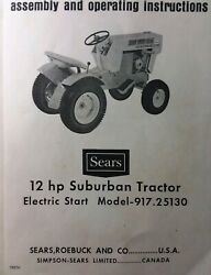 Sears Suburban Ss 12 Garden Tractor Owner And Parts 2 Manuals 917.25100 917.25130