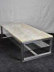 1970and039s Travertine Glass Chrome Coffee Table - Michel Ducaroy