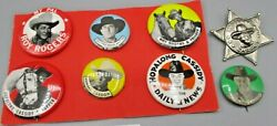 8 Vintage Hopalong Cassidy Topper And Roy Rogers Trigger Pinback Pin Buttons Lot