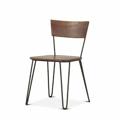 18.75 W Set Of 2 Alta Dining Chair Natural Acacia Wood With Modern Steel Frame