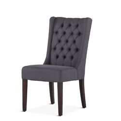 24 W Set Of 2 High Back Dining Chair Button Tufted Grey Linen Wood Legs Modern