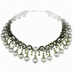Vintage 14.81cts Rose Cut Diamond Peridot Pearl Silver Wedding Necklace Jewelry