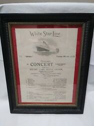 White Star Line Ss Olympic Concert Programme 1929. Mounted And Framed B30