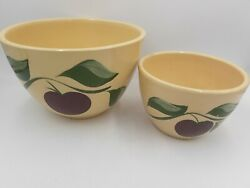 """Vintage Watt Pottery Apple 3-leaf 65 8.5"""" And 63 6 Mixing Bowl Made In Usa"""