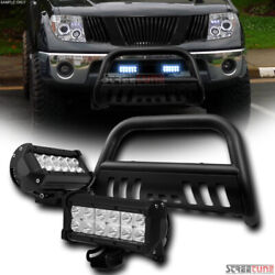 For 05-14 15 Xterra Matte Blk Bull Bar Grille Guard+36w Cree Led Lights Lamps