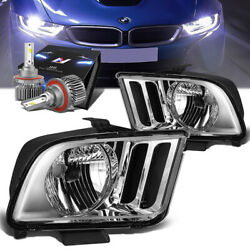 Chrome Housing Oe Style Headlight Lamps+slim Led Hid Kit For 05-09 Ford Mustang