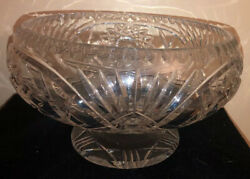 Incredible French Solid Cut Glass Crystal Abp Pedestal Fruit Bowl