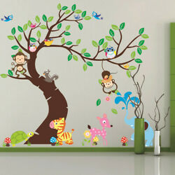 75#x27;#x27;*57#x27;#x27; Owl Tree Removable Wall Decals Stickers Jungle Animals Bedroom Decor