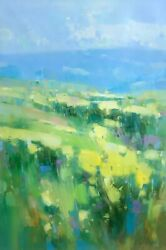 Flowers Valley Original Oil Painting Large Handmade Artwork One Of A Kind