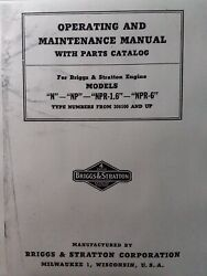 Briggs Stratton Model N Np Npr-1.6 6 Engine Owner, Parts And Service Repair Manual