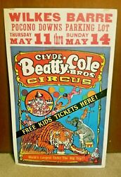 Vintage Circus Window Sign Poster Pocono Downs Wilkes-barre Pa Clyde Beatty