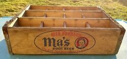 Vintage Ma's Old Fashion Root Beer Soda Wood 12 Bottle Crate - Wilkes-barre Pa