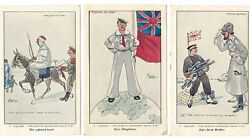 Complete Set Of 12 Satirical Postcards Ww1 - French Artist Signed