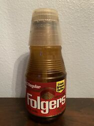 Collectible Vtg Folgers Fresh Ground Coffee Plastic Jar Can W/ Measuring Cup Rar