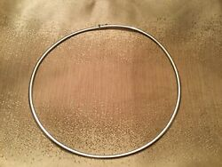 14kt White Gold Omega Domed Necklace 19andrdquo Italy