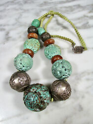 Antique Chinese Silver And Huge 32mm Carved Turquoise Dragon Shou Bead Necklace