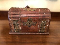 Antique Victorian Oak Desk Top Stationary Jewelry Box With Brass Accents C.1890