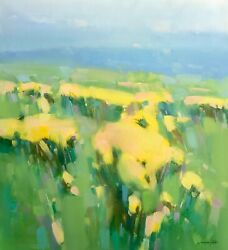 Field Of Yellow Flowers Original Oil Painting Handmade Artwork One Of A Kind