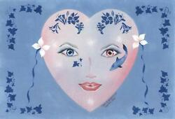 ART NOUVEAU COSTUME NAUTICAL MERMAID MASK PINK BLUE EYE THEOREM DOLPHIN PAINTING
