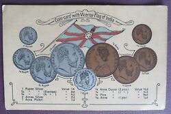 Coin Card With Viceroy Flag Of India Picture Postcard Pub. B Rigold And Bergmann