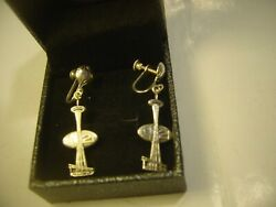 Rare-solid Silver-1962 Seattle Worls Fair Earings-space Needle Amazing Conditio
