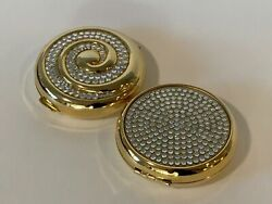 Lot Of 2 Estee Lauder Powder Compacts Gold With Stones Vintage