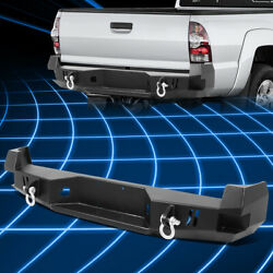 For 05-15 Toyota Tacoma Heavy Duty Steel Rear Step Bumper Face Bar W/dual D-ring