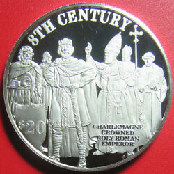 1997 Cook Islands 20 Proof .93oz Silver Charlemagne Holy Roman Emperor Rare
