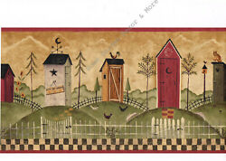 Primitive Folk Art Country Outhouse Bathroom Checkered Wall Paper Border