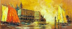 💎 Brittini Signed Fine Art Vintage 💎 Sunset Boat Painting Grand Canal Zorro 💎